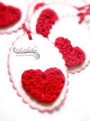 Szívem szeretetével... horgolt mintás ajándékcímke (1 db)