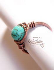 Türkinit antikolt vörösréz gyűrű