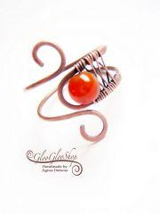 Karneol tekervény... állítható vörösréz gyűrű